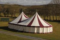 maroon & white little top, big top, canvas wedding tent