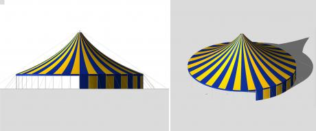 Blue & Yellow Striped Big Top 22m, Circus, PVC, Sculpted