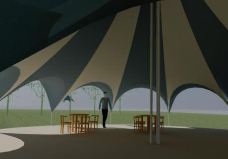 14m carousel tent- interior, contemporary tent design, saddle arches