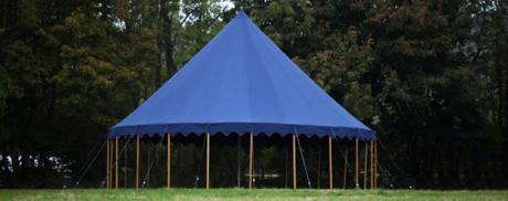 blue 10m canvas tent, little top, blackout