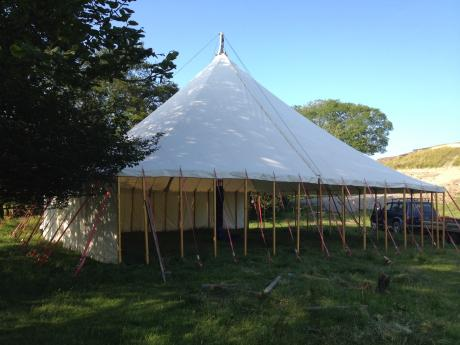 white canvas traditional marquee, natural canvas tent for hire, wedding tent