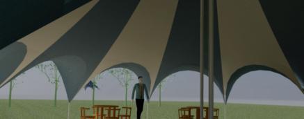14m carousel tent- interior, contemporary tent design, saddle arches