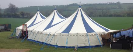 Blue & White canvas Little top, canvas circus tent, canvas big top, colourful tent