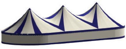 3 pole Blue & White canvas Little top, canvas circus tent, canvas big top, colourful tent