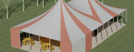 orange and white canvas little top, festival tent, circus tent